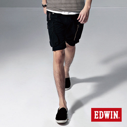 EDWIN 鈕扣式褲耳休閒馬褲-男-黑色