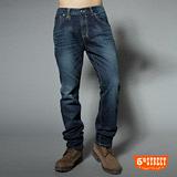 5th STREET 皮剪接直筒牛仔褲-男-酵洗藍