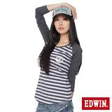 EDWIN 拉克蘭條紋短袖T恤-女-粉紫