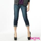 SOMETHING 雙腰頭印花B.F牛仔褲-女-酵洗藍
