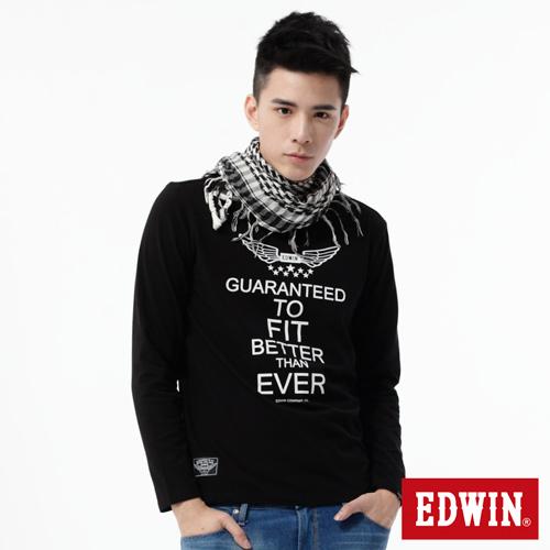 EDWIN 飛行LOGO植絨印花T恤-男-黑色