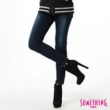 SOMETHING STORYⅢ塑腿超窄直筒牛仔褲-女-原藍磨