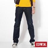 EDWIN 基本五袋高腰中直筒牛仔褲-男-原藍磨