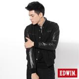 EDWIN 毛呢異材質剪接防寒外套-男-黑色