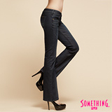 SOMETHING NEO低腰靴型牛仔褲-女-中古藍