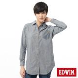 EDWIN 襯衫 暗口袋長版牛仔襯衫-女-漂淺藍