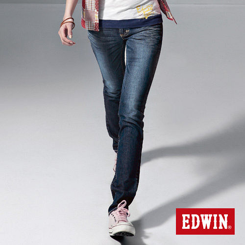 EDWIN MISS BT配皮窄直筒牛仔褲-女-酵洗藍