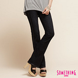 SOMETHING 交錯線條靴型褲-女-原藍磨