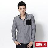 EDWIN 牛津拼接長袖襯衫-男-黑灰色