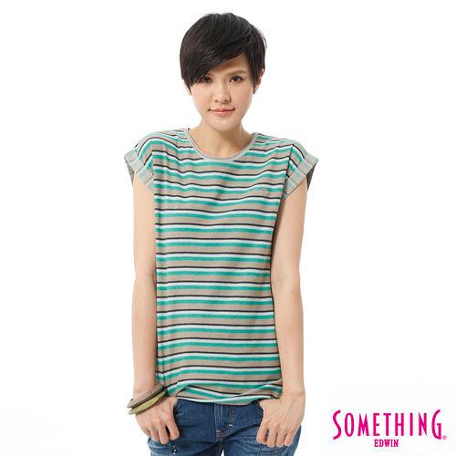 SOMETHING 網路限定 袖反折條紋短袖T恤-女-綠色