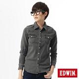 EDWIN 經典雙袋牛仔襯衫-女-黑色