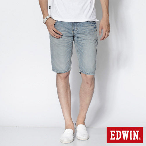 EDWIN XV復古刷色牛仔短褲-男-漂淺藍