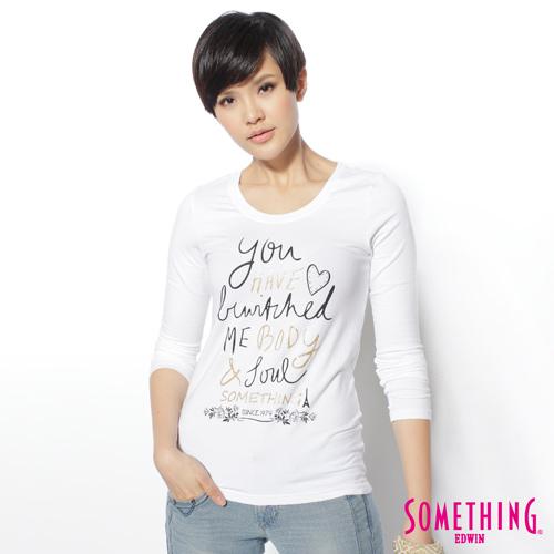 SOMETHING 趣味字母薄長T恤-女-白色