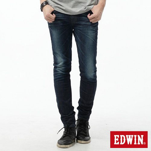 EDWIN 大尺碼窄直筒 EDGE LINE牛仔褲-男-酵洗藍