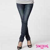 【SOMETHING】純琢個性-剪接伸縮窄直筒牛仔褲-女款(中古藍)