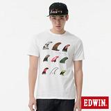 EDWIN 鰭板印花短袖T恤-男-白色
