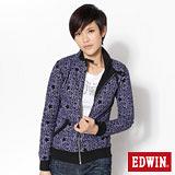 EDWIN 滿版印花立領外套-女-黑色