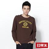 EDWIN 大E貼布圓領T恤-男-咖啡色