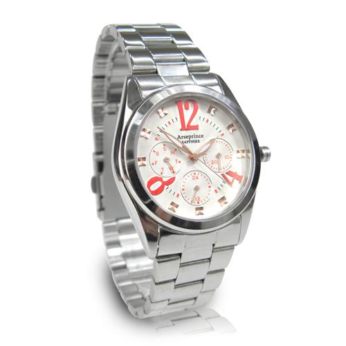 【Arseprince】方刻晶鑽時尚三眼中性錶-紅白色
