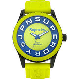 Superdry極度乾燥 Tokyo系列炫彩視覺運動腕錶-亮綠x藍x大