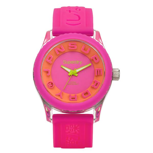 Superdry極度乾燥 Tokyo系列炫彩視覺 腕錶~亮粉紅x橘x小
