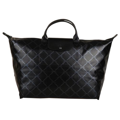 Longchamp 限量60週年復刻版LM系列短把斜格紋旅行包(大/黑)