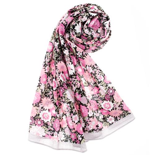 renoma paris 日系和風花兒抗UV薄圍巾-粉紅