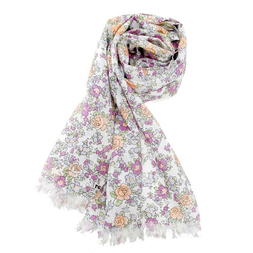 renoma paris 日系和風小花抗UV薄圍巾-紫黃