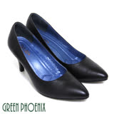 【GREEN PHOENIX 波兒德】高尚優雅極簡素面全真皮尖頭高跟鞋