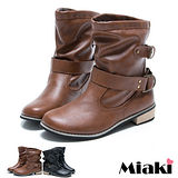 【Miaki】韓版潮流單扣造型低跟低筒靴短靴 (棕色/黑色)