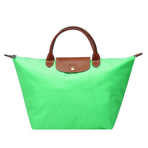 Longchamp 經典高彩度可摺疊水餃包_ 短把/中/綠色