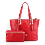 Longchamp 經典皮革托特包 子母包/紅色
