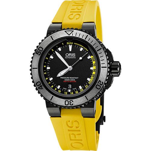 Oris Aquis Depth Gauge深度測量潛水套錶~IP黑 46mm 0173376754754~SET RS