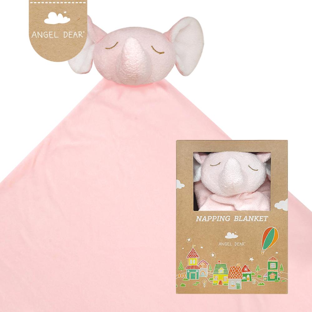 美國 Angel Dear 大頭動物嬰兒毛毯 (粉紅小象)