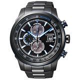 CITIZEN Eco-Drive光動能競速計時腕錶-黑/45mm CA0576-59E