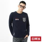 EDWIN 江戶勝口袋繡花T恤-男-丈青色
