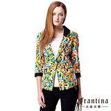 【法蘭蒂娜】花兒朵朵七分袖窄版西裝外套