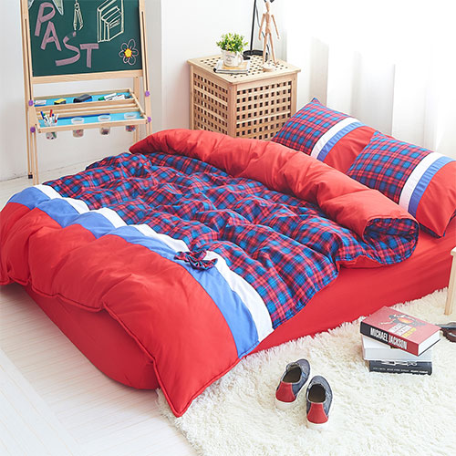 RODERLY 蘇格蘭學院 柔絲絨 雙人四件式舖棉兩用被床包組