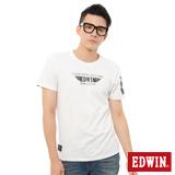 EDWIN 飛行LOGO膠印短袖T恤-男-白色