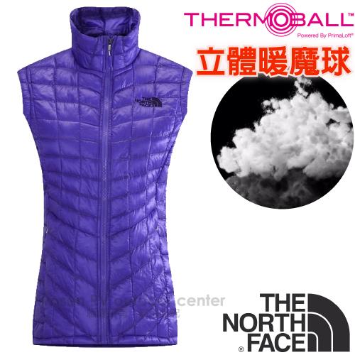 【美國 The North Face】女新款PrimaLoft ThermoBall暖魔球保暖背心.輕量柔軟.抗水快乾/媲美羽絨科技填充/CUD6 星空紫
