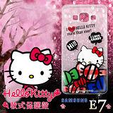 三麗鷗授權正版 Hello Kitty凱蒂貓 三星Samsung Galaxy E7 透明軟式手機殼(糖果HI)