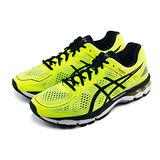 (男)ASICS亞瑟士 GEL-KAYANO 22 慢跑鞋 螢光黃/黑-T547N0790