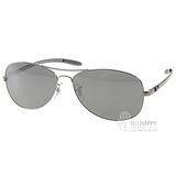 RayBan太陽眼鏡 碳纖維水銀鏡面偏光款(銀-霧黑) #RB8301 004K6