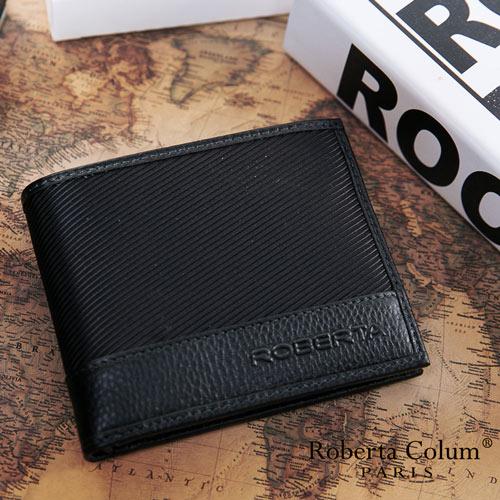 Roberta Colum - 雅痞時尚系牛皮款可拆式左右翻12卡2照短夾-黑