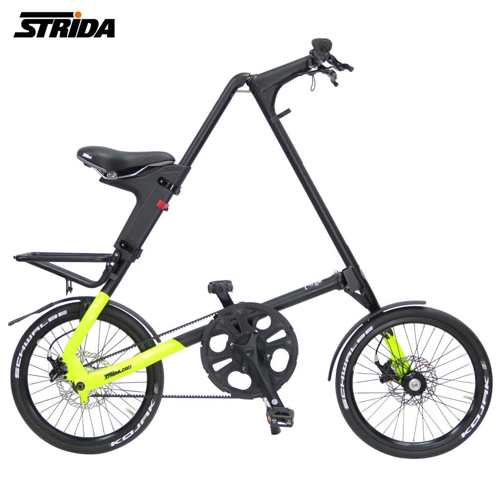 STRiDA 速立達 18吋SX 折疊單車(碟剎) 前後叉截色螢光黃-壓克力平光黑