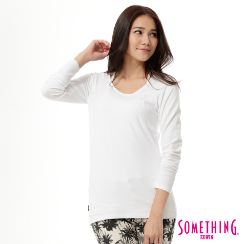 SOMETHING 斜V領燙鑽T恤-女-白色