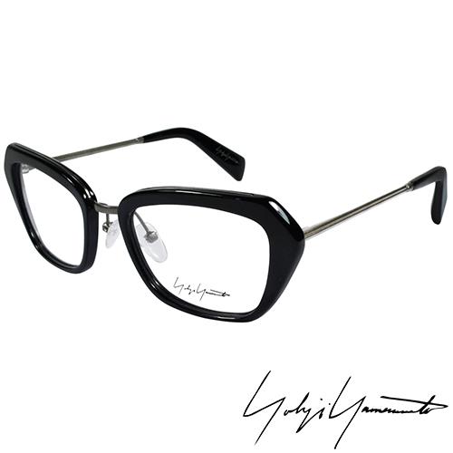 Yohji Yamamoto 山本耀司時尚斜方框金屬混搭造型光學眼鏡-黑 YY1005-019