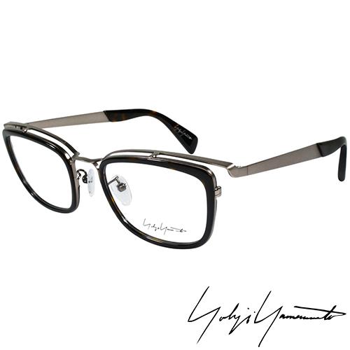 Yohji Yamamoto 山本耀司 方型時尚前衛光學眼鏡-黑銀-YY1021-019
