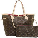 Louis Vuitton LV M41178 NEVERFULL MM 經典花紋子母束口購物包.桃紅 預購