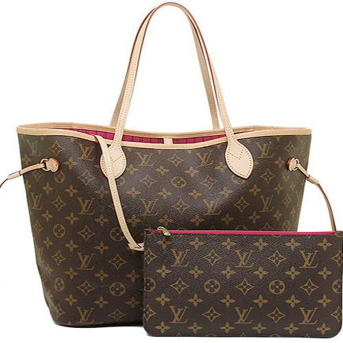 Louis Vuitton LV M41178 NEVERFULL MM 經典花紋子母束口購物包.桃紅_預購